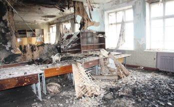 сгоревшую школу
